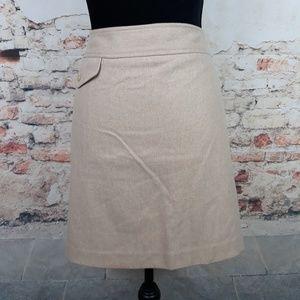 Banana Republic 8 Beige Khaki Wool A-Line Skirt